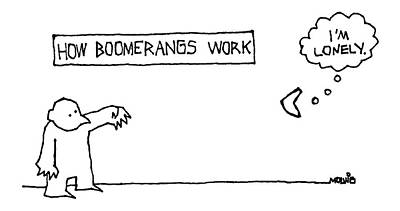 Cause And Effect Drawing - How Boomerangs Work by Ariel Molvig