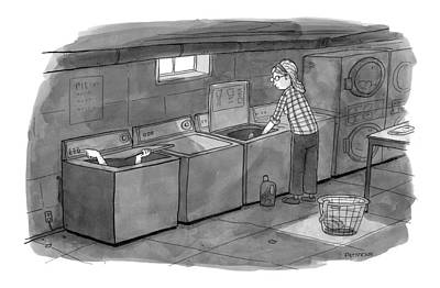 Hand Washing Drawing - New Yorker September 28th, 2009 by Jason Patterson