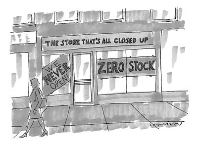 Storefront Drawing - New Yorker February 9th, 2009 by Michael Crawford