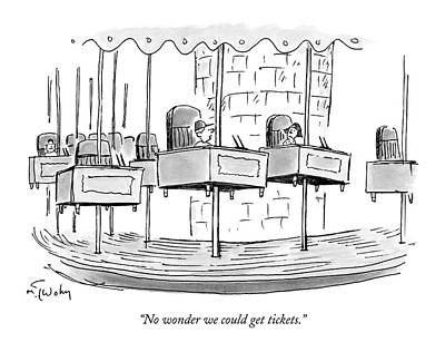 Merry-go-round Drawing - No Wonder We Could Get Tickets by Mike Twohy