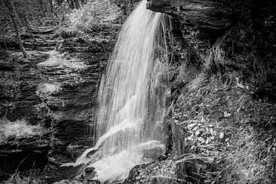 Photograph - Waterfalls George W Childs National Park Painted Bw   by Rich Franco