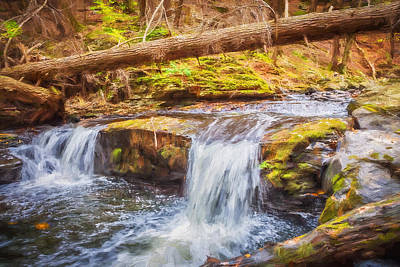 Photograph - Waterfalls George W Childs National Park Painted  by Rich Franco