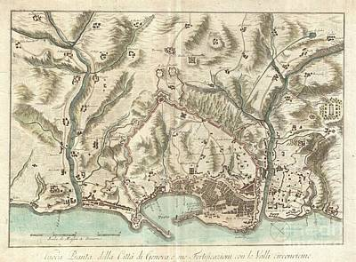 Old World Vintage Cartographic Maps Wall Art - Photograph - 1800 Bardi Map Of Genoa Genova Italy  by Paul Fearn