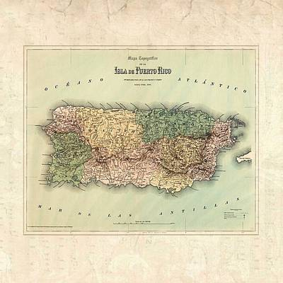 Photograph - 1800 Map Puerto Rico by Florene Welebny