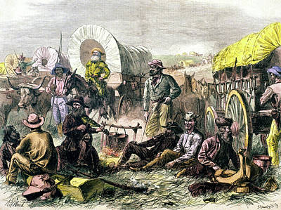 Conestoga Painting - 1800s 1860s 1870s Pilgrims by Vintage Images