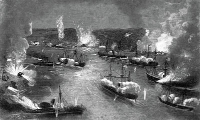 Mississippi River Painting - 1800s 1860s April 24 1862 Naval Battle by Vintage Images