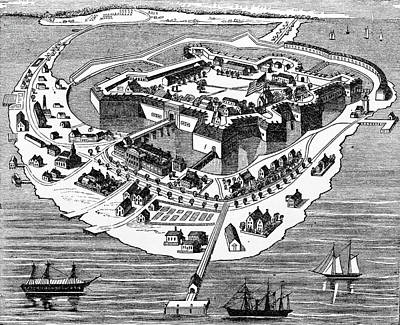 1800s 1860s Drawing Layout Fort Monroe Art Print