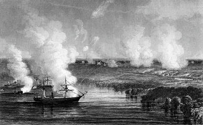 July Painting - 1800s 1860s July 1862 Union Gunboats by Vintage Images