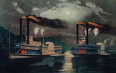 Steamboat Painting - 1800s 1860s Two Steamboats Midnight by Vintage Images