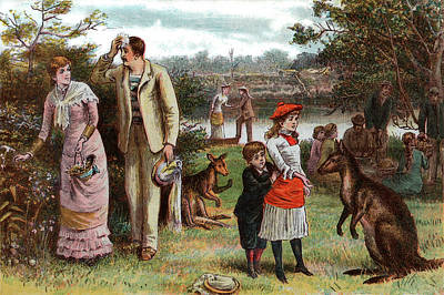 1880s Painting - 1800s 1880s 1881 Summer Picnic Scene by Vintage Images