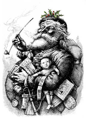 Magic Time Painting - 1800s 1881 Santa Holding Toys Pipe by Vintage Images