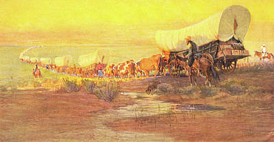 Conestoga Painting - 1800s American Western Frontier by Vintage Images