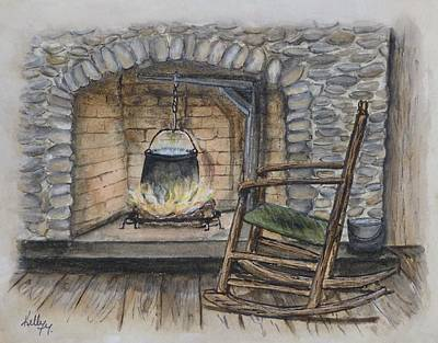 Painting - 1800s Cozy Cooking .... Fire Place by Kelly Mills