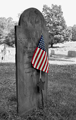 Photograph - 1800's Military Headstone by Staci Bigelow