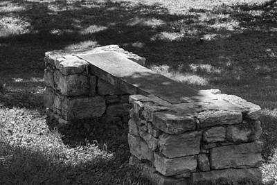 Photograph - 1800's Stone And Wood Bench by Robert Hebert