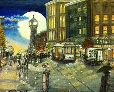 1800s Street Scene Painting Art Print by Larry E Lamb