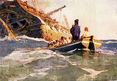 War Of 1812 Painting - 1800s War Of 1812 Surrender Sinking by Vintage Images