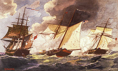 War Of 1812 Painting - 1800s War Of 1812 Uss Privateer Dolphin by Vintage Images