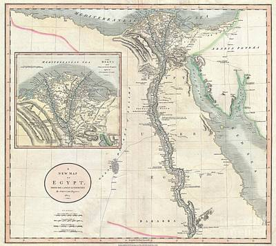 1805 Cary Map Of Egypt Print by Paul Fearn