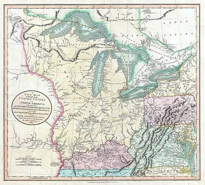 Ile St Louis Photograph - 1805 Cary Map Of The Great Lakes And Western Territory Kentucy Virginia Ohio by Paul Fearn