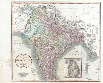 1806 Cary Map Of India Or Hindoostan Art Print by Paul Fearn