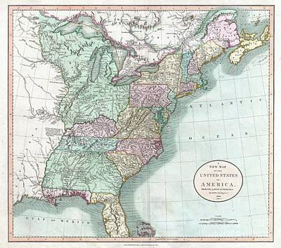 1806 Cary Map Of The United States East Of The Mississippi River Art Print by Paul Fearn