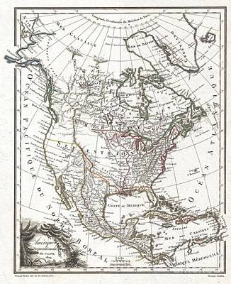 1809 Tardieu Map Of North America  Art Print