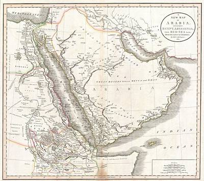 Sudan Red Photograph - 1811 Cary Map Of Arabia Egypt And Abyssinia by Paul Fearn