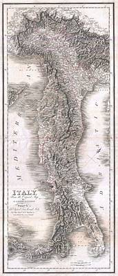 1814 Rizzi Zannoni Map Of Italy Art Print by Paul Fearn