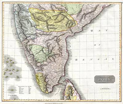 1814 Thomson Map Of India Print by Paul Fearn
