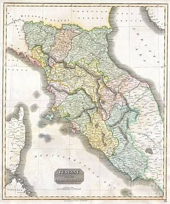 1814 Thomson Map Of Tuscany Art Print by Paul Fearn