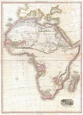1818 Pinkerton Map Of Africa Art Print by Paul Fearn