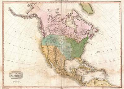 1818 Pinkerton Map Of North America Art Print by Paul Fearn