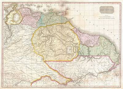 The Great Escape Art Photograph - 1818 Pinkerton Map Of Northeastern South America by Paul Fearn