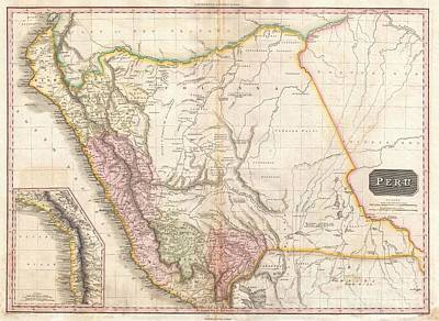 1818 Pinkerton Map Of Peru Art Print by Paul Fearn