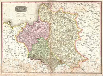 It Polish Photograph - 1818 Pinkerton Map Of Poland  by Paul Fearn
