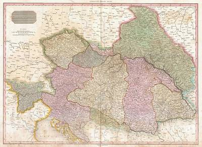 Old And In The Way Photograph - 1818 Pinkerton Map Of The Austrian Empire by Paul Fearn