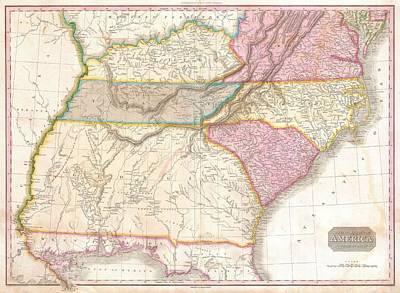 1818 Pinkerton Map Of The Southeastern United States Art Print