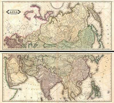1820 Lizars Wall Map Of Asia Art Print by Paul Fearn
