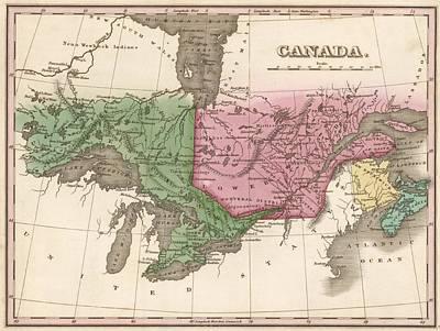 1824 Canada Vintage Map Print Art Print