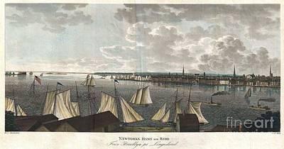 1824 Klinkowstrom View Of New York City From Brooklyn  Art Print by Paul Fearn