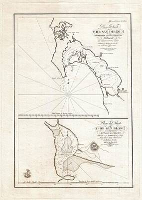 1825 Victoria Map Of San Diego California And San Blas Mexico  Art Print by Paul Fearn