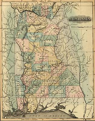 1826 Alabama Map Art Print