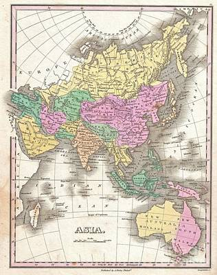 Map Photograph - 1827 Finley Map Of Asia And Australia by Paul Fearn