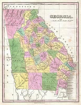1827 Finley Map Of Georgia Art Print by Paul Fearn