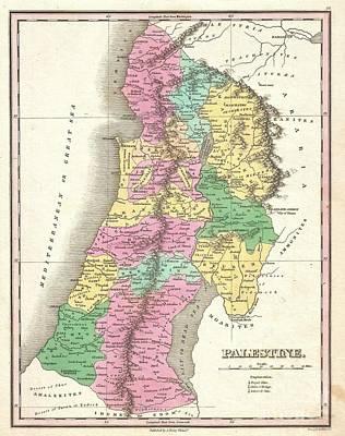 1827 Finley Map Of Israel  Palestine Holy Land Art Print