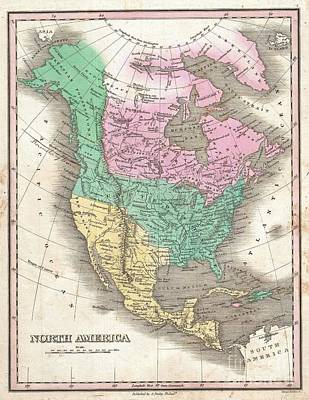 1827 Finley Map Of North America Art Print
