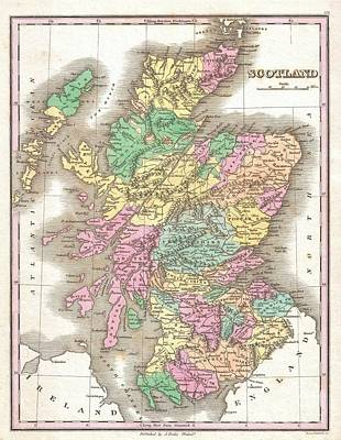 Old And In The Way Photograph - 1827 Finley Map Of Scotland by Paul Fearn