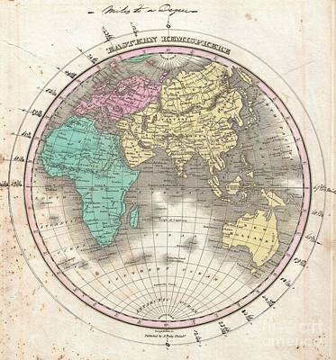 1827 Finley Map Of The Eastern Hemisphere  Art Print by Paul Fearn
