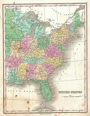 1827 Finley Map Of The United States Art Print by Paul Fearn